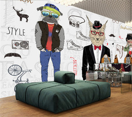 Wholesale sound clothing online – design Customized Any Size D Wall Mural Wallpaper Modern Abstract Painting Animal Clothing Store Coffee Shop Backdrop Decor Wallpaper