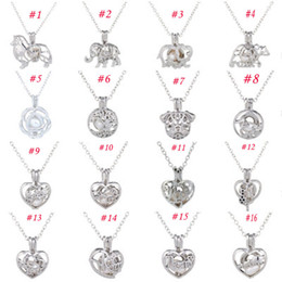 locket plate flower 2019 - Pearl Cage Pendant Necklace 2018 Diy Love Wish style With Oyster Pearl Mix Design Fashion Hollow Locket Clavicle Chain N