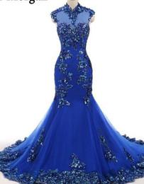 c4d79ace3956 Abiti da sera blu collo alto per le donne vestono abiti da cerimonia party  vestido de festa celebrity mermaid pizzo elegante 2018