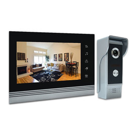 "intercom monitor camera NZ - 7"" video door phone intercom doorbell kits aluminum alloy panel wired video doorphone system 1 IR camera 2 LCD color monitor"