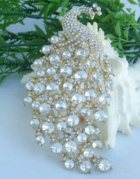 indian style brooches Canada - Beautiful Vintage Style Women's Austrian Crystal Rhinestone Animal Peacock Brooch Pin EE05651C12