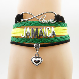 Discount jamaica jewelry love Country Jamaica Bracelet heart Charm patriot leather bracelets & bangles for Women and men jewelry patriot gift