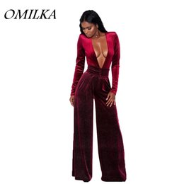 Plus Size V Neck Jumpsuit Canada - OMILKA 2017 Autumn Winter Women Long Sleeve V Neck Bandage Wide Leg Rompers and Jumpsuits Casual Red Blue Gray Plus Size Overall