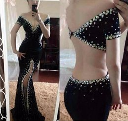 $enCountryForm.capitalKeyWord Australia - Sexy Black Mermaid Prom Dresses Off The Shoulder Crystals Dubai Cut Side Split Formal Evening Pageant Gowns 2019 Formal Party Vestido