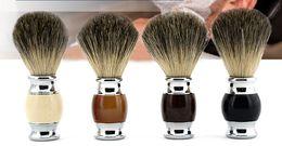 Pincel de barba com Texugo Cabelo Lidar Com Metal dos homens Escova de Barbear Limpeza Escovas de Cabelo Varrendo Escova Frete Grátis