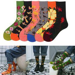 $enCountryForm.capitalKeyWord Australia - 1PC Eye-Catching Design Couple Socks Harajuku Men Socks Colorful Funny Cartoon Painting Flower Bird Vintage Casual