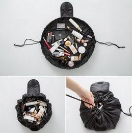 Discount handbag making kit - Lazy Travel Cosmetic Bag Professional Drawstring Makeup Case Women Make Up Handbag Organizer Storage Pouch Toiletry Wash