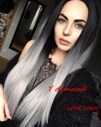 $enCountryForm.capitalKeyWord Australia - Ombre Grey None Lace Wigs Long Straight Two Tone Color Glueless Like Human Hair Wigs 1B T Grey Ombre Wigs With Black Roots