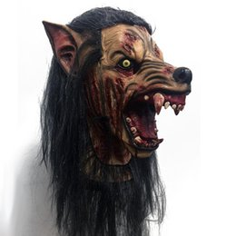 Discount werewolf cosplay - Scary Party Cosplay Werewolves Mask Adult Full Head Halloween wolf Mask Fancy Dress Party Cosplay Costume