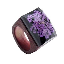 Chinese  whole saleFashion Rose Bing Secret Forest Wooden Ring For Women Resin Square Finger Jewelry Accessories Gift 1582 manufacturers