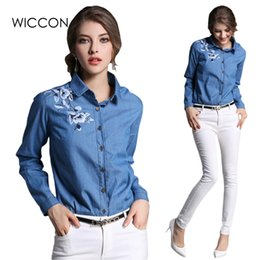 ba127835369 Discount washed denim shirt women - jean blouse Women embroidered denim  blouse flower vintage wash denim