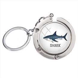 shark glasses NZ - BH-003 New Fashion Vintage Circling Sharks Glass Art Photo Cabochon Bag Hanger Accessories Keyring Silver Jewelry Keychains