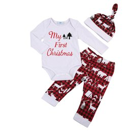 1f43c3c373 My First Christmas Newborn Infant Kid Baby Boys Baby Girls Clothes Cotton  Casual Popular Romper Pants Hat 3Pcs Outfits Clothes