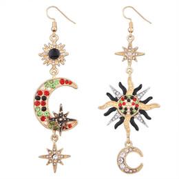 3363fdef3549 2018 cristal luna estrella cuelga araña pendientes moda Boho Geometría  Vintage cadena de oro pendientes de gota para las mujeres joyería  declaración