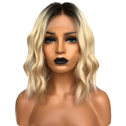 $enCountryForm.capitalKeyWord Australia - On sale 10a 100% unprocessed raw virgin remy human hair medium #1bt613 ombre color water wave full lace cap wig for women