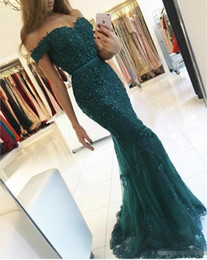$enCountryForm.capitalKeyWord NZ - 2018 New Designer Dark Green Off the Shoulder Sweetheart Evening Gowns Appliqued Beaded Short Sleeve Lace Mermaid Prom Dresses