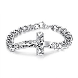 $enCountryForm.capitalKeyWord NZ - Fashion Bracelets Men Jewelry Jesus Design Punk Rock Hip Hop Gold Silver Link Chain Stainless Steel Bracelet Men Gifts for Men