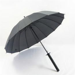 Umbrella men black online shopping - Metal Large Windproof Ninja like Japanese Sword Long handle Rain Sun Straight Umbrella Men Women Ribs Black
