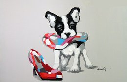 $enCountryForm.capitalKeyWord NZ - Boston Terrier Puppy Dog And Shoe,High Quality Handpainted &HD Print Modern Cartoon Animal Pop Art Oil Painting On Canvas Multi sizes J57!