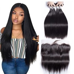 Human Hair Lace Weave Australia - Mink Brazilian Straight Hair Bundles With 13x4 Lace Frontal With Hair Bundles Human Hair Weaves With Ear to Ear Lace Frontal Closure