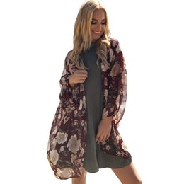 Floral Chiffon Kimono NZ - 2017 Fashion Women Long Beach Cover Up Floral Print Chiffon Kimono Front Open Loose Long Thin Coat Purple Swimwear