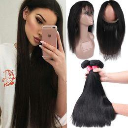 Full Lace Weave Human Hair NZ - 8A Remy Brazilian Straight & Body Wave Virgin Hair Weave 3 Bundles With 360 Full Lace Closure 100% Unprocessed Brazilian Human Hair Weaves