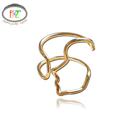 Wholesale F J4Z Real Sterling Sier Trend Rings Fashion Brand Design Hollow Face Outline Adjustable Cuff Finger rings for women