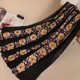 $enCountryForm.capitalKeyWord Australia - Lavel Women Luxury double row embroider cotton floral shawls hijab muslim wrap headband bandelet 9 color scarves scarf 180*90cm