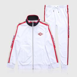 Active Kit NZ - White Set Luxury Mens Tracksuit Men Designer Suit Jackets + Pants Zipper Coat Black White Gray High Street Striped Kits
