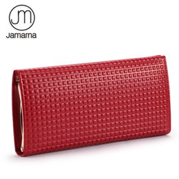 leather cell phone cases UK - Jamarna Women Wallets Hasp Wallet Female Classic Genuine Leather Wallet Female Card Holder Case Plaid Red Purse