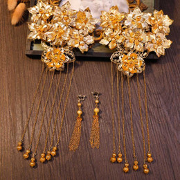 Wholesale Gold Color Tassel Coronet Classical Chinese Bride Wedding Hair Jewelry Headpiece Flower Hairwear with Long Drop Earrings Costume