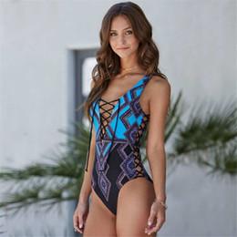 $enCountryForm.capitalKeyWord Australia - Sexy Lace Up One Piece Swimsuit Geometric Print Swimwear Women Push Up Swim Suit Brazilian Monokini Xl Bathing Suit Blue Beach