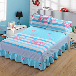 pink bedding sets for adults 2019 - 100% Cotton Home Bedding Set Duvet Cover Bed Skirt Pillowcases 4pcs 1M-2M Bed for Children Adults Cartoon Print QXN10 di