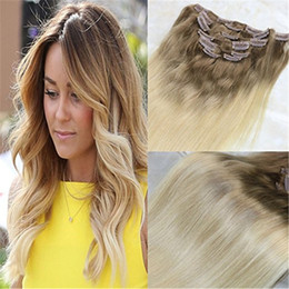 $enCountryForm.capitalKeyWord Australia - Clip in Hair Extensions Balayage Ombre Color #8 Light Brown Fading to #613 Blonde Remy Real Human Hair Clip On Weave 7Pcs 120g