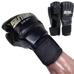 Leather Gloves Taekwondo NZ - New Leather Half Finger Fight Mma Boxing Gloves Mitts Sanda Karate Sandbag Taekwondo Protector Mma Muay Thai Kick Boxing Gloves Gear