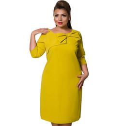 Plus Size 4XL 5XL 6XL Fashion Solid Women Mid Dress Red Yellow Elegant OL  Office Work Wear O-neck Bow Straight Vestidos Big Size 54977f1bc