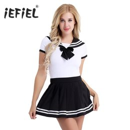 Sexy Adult Woman Costumes Canada - 2Pcs Women Adult Cotton Baby Diaper Lover School Girls Snap Crotch Romper with Mini Pleated Skirt Clubwear Costume Cosplay Sets sexy