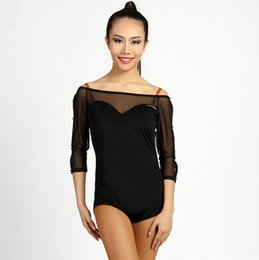 Latin baLLroom dance tops online shopping - Black Adult Girls Latin Dance Clothes Tango Salsa Ballroom Modern Practice Dance Tops Sexy Mesh Stitiching Sleeve Leotard Body suit