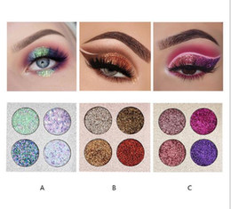 pressed glitter eyeshadow 2019 - Free DHL Brand 2018 New arrival 4colors Diamond Glitter Pressed Glitter Eyeshadow Palette Highly Pigmented Glitter Foile