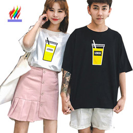 b1d4907eb3 Cute T-Shirts For Lovers Couple Clothes Female Male Summer Casual Printed  Tops Japan Korea White Black Matching Couple T Shirts