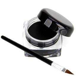 Gel Eyes Liner Australia - Long Lasting Eye Liner Waterproof Eyeliner Pen Cosmetics Makeup Eyeliner Shadow Gel + Makeup Brush kit