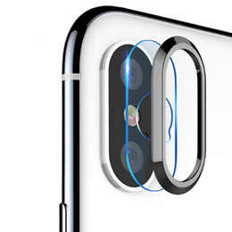 Iphone Protective Screen Protector UK - For iPhone X 8 7 Plus Tempered Glass+Metal Rear Lens Protective Ring Camera Lens Screen Protector For iPhone X iPhone 7 8 Plus