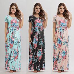 08912e312634 8 Foto Compra Online Vestiti fiori donna maxi-Manica corta del vestito  lungo dalla signora di stampa