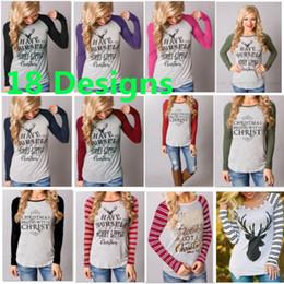 d825a9c5f Christmas Women T-shirt Cotton Printed Elk Reindeer Top Pullover T-shirt  For Striped Long Sleeve Sweatshirt Blouse Skirts 3XL DHL HH7-1812