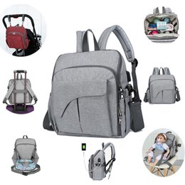 Nappy Bag Tote NZ - Trendy Diaper Bag Large capacity Multifunction Mommy Backpack with Changing Pad Nappy Tote Bags Stroller Straps USB Design