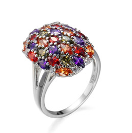 the jewelry factory Australia - The new hot selling Europe and the United States popular multi-color mixed color zircon jewelry ring factory direct jewelry wholesale