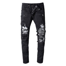 Camouflage motorCyCle online shopping - Balmain Camouflage Fashion jeans Mens Simple Summer Motorcycle biker Lightweight Jeans Casual Solid Classic Straight women men jeans