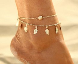 small bezel Australia - Europe and the United States cross-border hot selling beach leaf anklet simple double tassel national wind women's small leaf foot jewelry
