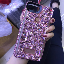 Wholesale LED Light Mobile Phone Case Double Sides Light Selfie Cover with Sparkle Rhinestone Decoration for IphoneX iphone s plus
