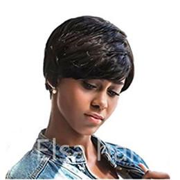 Cheap Celebrity Hair Australia - 100% Human Hair Wigs Short Straight Black wigs Pixie Cut Wigs for Black Women Cheap Celebrity short Bob machine made wig